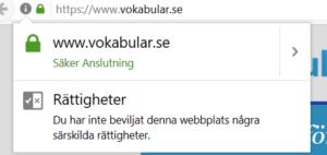 Skärmdump på webbplatsen Vokabulär.se över en säker anslutning